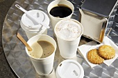 Various take-away coffee cups