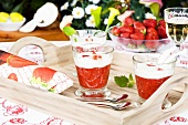 Strawberry cream with coconut on a tray
