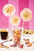 A glass of lollies and peppermint bonbons