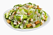 Salad with Romaine Lettuce, Ham and Croutons; Creamy Dressing
