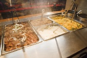 Trays if Pulled Pork and Rices; Steaming; Buffet