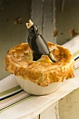 A meat pie in a bird dish