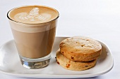 Caffe latte with biscuits