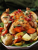 Whole Roast Organic Chicken with Potatoes, Carrots and Pomegranates