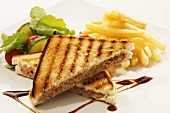 Toasted tuna sandwich with chips