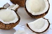 Aufgeschlagene Kokosnuss