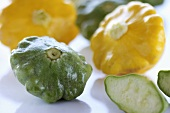 Green and yellow patty pan squash