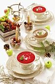Rote-Bete-Cremesuppe und Pilzcremesuppe zu Weihnachten