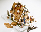 A home-made gingerbread house