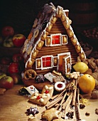 A gingerbread house with interior lighting