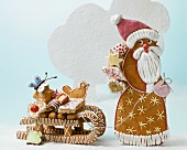 Honey cake Father Christmas with a sleigh