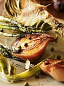 Roasted Shallots, Artichoke and Asparagus with Capers