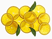 Orange slices, seen from above