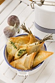 Greek samosas (feta-spinach filling and fig-walnut filling)