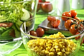 Sweetcorn kernels in a dish