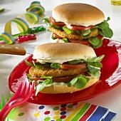 Chicken burger with corn salad