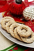 Ring-shaped nut biscuits for Christmas