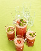 Home-made strawberry and cherry juice