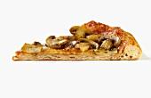 Ein Stück Pizza mit Tomaten, Käse und Champignons