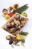 Assorted shellfish and fruit