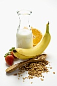 Healthy eating: muesli, fruit and milk