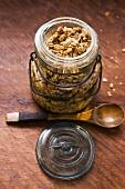 Crunchy muesli in a jar