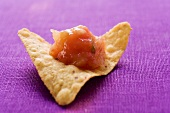 A tortilla chip with salsa