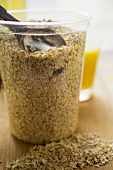 Rolled oats in a glass