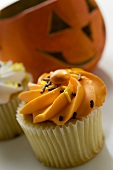 Muffin in front of a Halloween pumpkin