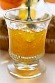 Orange jelly in a glass