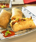 Spring rolls on Chinese tableware