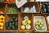 Variety of Organic Vegetables in Baskets at a Market