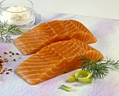 Two pieces of salmon fillet