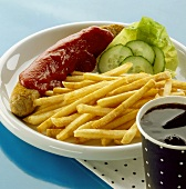 Currywurst (curried sausage) with chips