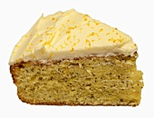 A piece of lemon cake with poppy seeds