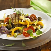 Fried pork fillet with mixed vegetables