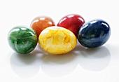 Five coloured eggs
