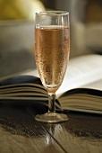 Ein Glas mit Rosé-Wein