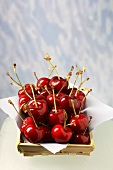 Cherries in a wooden dish