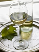 A glass of white wine with bottle on a tray