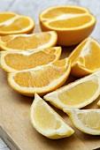 Orange and lemon wedges