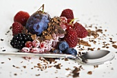 Mixed berries with chocolate shavings