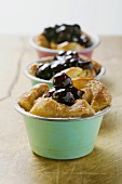 Individual bread puddings with cherries