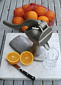 Juice press for making freshly pressed orange juice