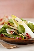 Mixed salad leaves with pomegranate vinaigrette
