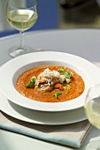 Gazpacho with fish, shellfish and basil