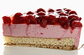 A piece of raspberry cream cake