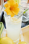 Lemonade in a glass with a flower