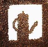 Coffee beans in the shape of a coffee pot