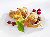 Croissants, plain and with raspberry jam